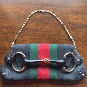 Gucci Blk Canvas GG Horsebit Clutch Shoulder Bag